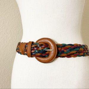 Multicolor Fully Adjustable Leather Braided Belt